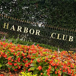 Gated entrance to Harbor Club community.